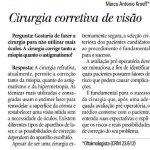Questão sobre cirurgia refrativa - Coluna Viva Melhor - Jornal Zero Hora.